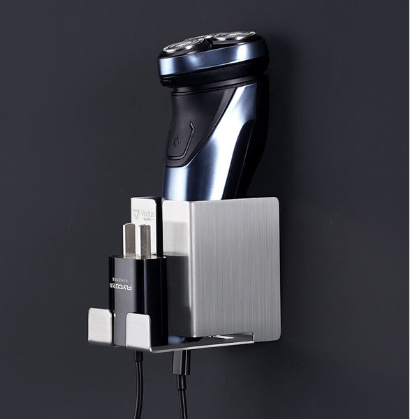 All-in-one Stainless Steel Electric Shaver Holder/Rack with Strong Bearing, Self-Adhesive Hanger  & Charging Hole