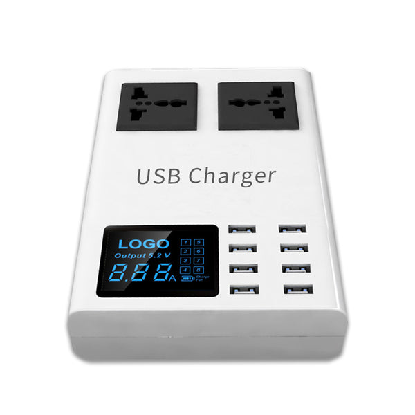 All-in-one Wired & Wireless Charging Hub with Universal Outlets & Digital Screen