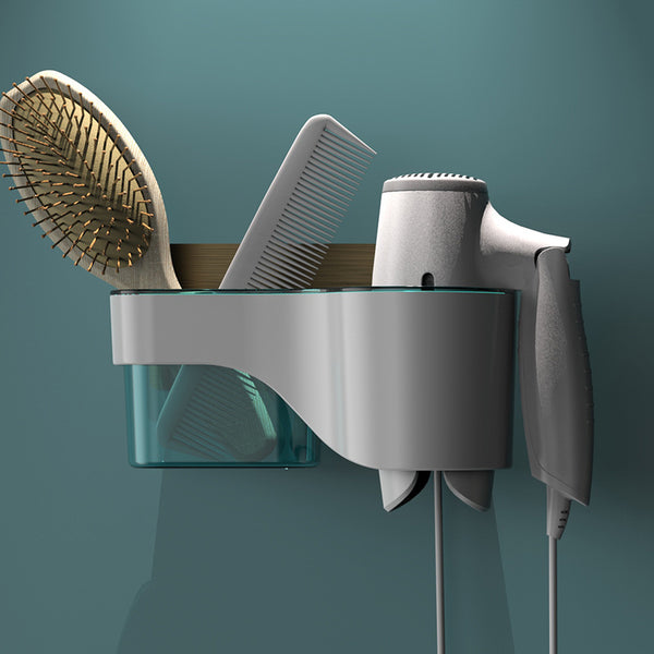 Punch-Free Bathroom Hair Dryer Wall Shelf with Comb, Razor Racks, for Storing Toilet Bathroom Items