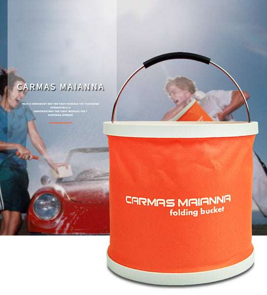 Portable Folding Bucket with Waterproof Coating, Non-slip Handle and High-quality Material, for Car Wash, Fishing, Camping, Travel and More