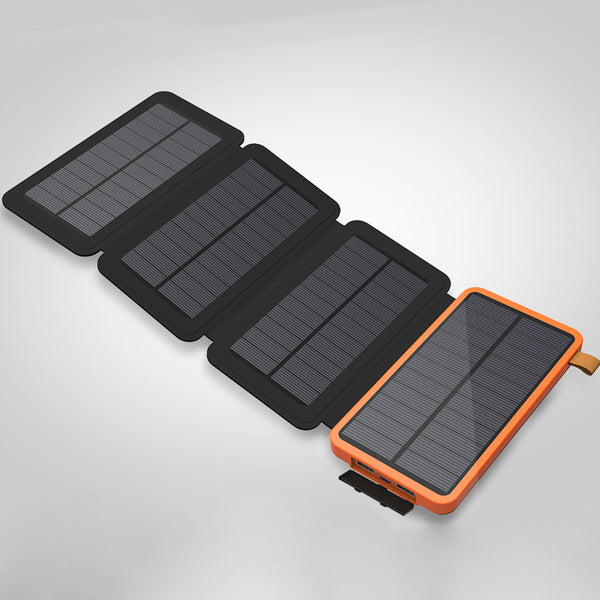 Get Energy From Sunlight with Fordable Dual USB 4-Panel Solar Power Bank & Charger
