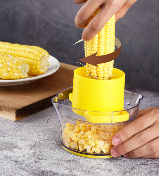 All-In-One Kitchen Tool: Corn Stripper, Potato Peeler & Fruit Grater With Measuring Bowl