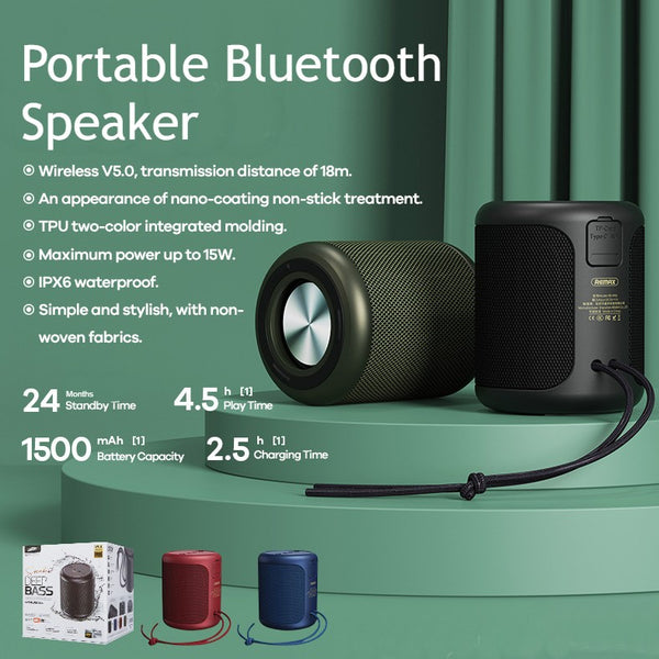 Waterproof Bluetooth5.0 Stereo Wired/Wireless Speaker, with 24 Months Standby Time, Support TF Card & AUX Cable, for Home, Office, Party & Travel