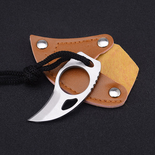 Mini Pocket Finger Claw Knife With Leather Sheath For Camping, Hunting & Outdoor