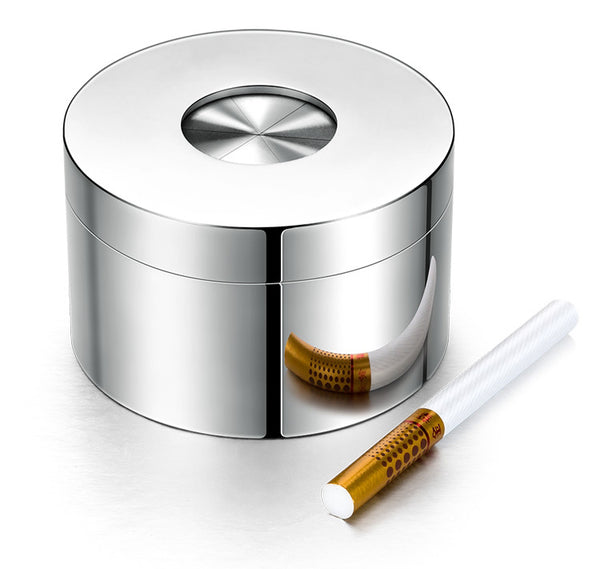 Portable Desktop Stainless Steel Windproof Ashtray with Rotating Lid, Fully Enclosed and Anti-odor Design, for Home Use & Decoration