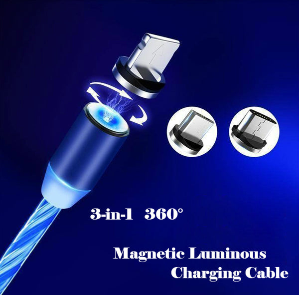 3-in-1 & 360° Rotatable Magnetic Luminous USB Data Cable For Android, iPhone & Type-C