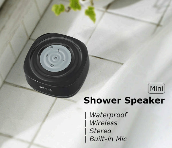 Mini Portable Waterproof Wireless Bluetooth 4.2 Shower Speaker With Suction Cup & Built-in Mic