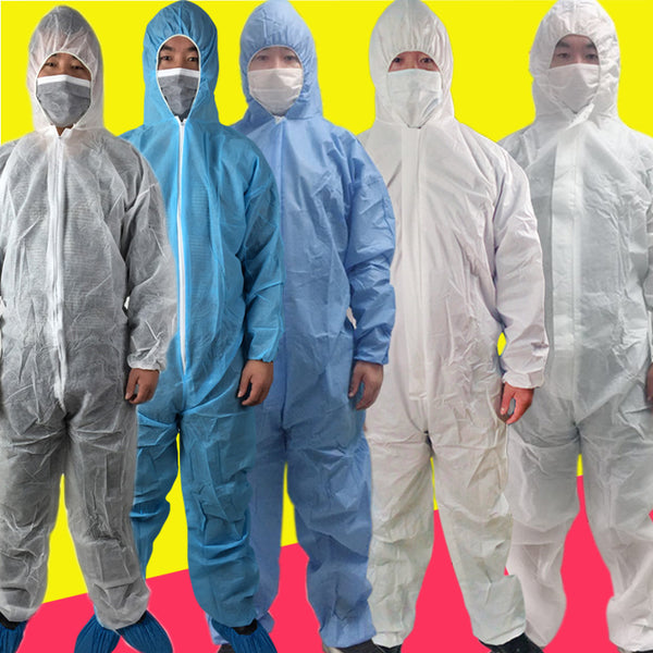 Disposable & Breathable Non-Woven Fabric Splash Protection Overall Suit, with Elastic Wrists, Ankles and Hood