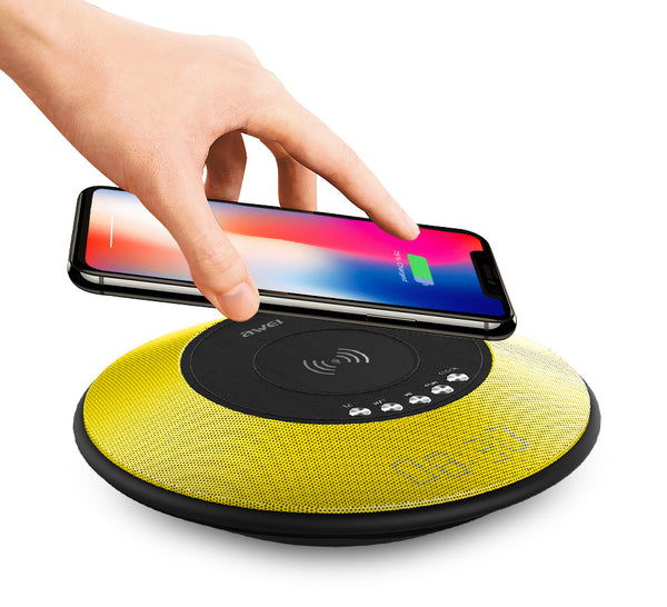 4-in-1 Wireless Charging Pad That Hides Bluetooth Speaker, Radio & Alarm Clock