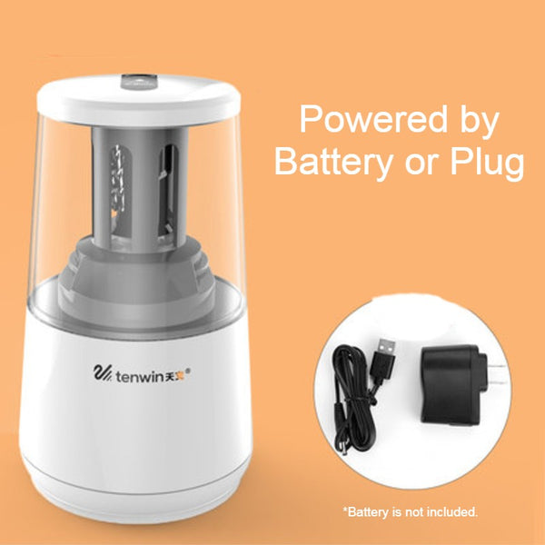 Electric Pencil Sharpener with Heavy-duty Helical Steel Blade, Powered by Battery / Adapter, with Auto Stop Function and Replaceable Blade, for All-Shape Pencils, for School, Classroom, Office & Home