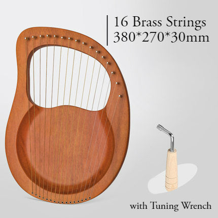 16 Brass String Mahogany Lyre Harp with Tone Wrench for Children, Teenager & Adults