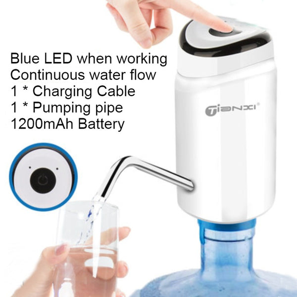 Rechargeable Electric Water Bottle Pump, with Low Noise, Widely Applicable, One-button Control and Safe Material, for Home, Office, Party & Outdoor