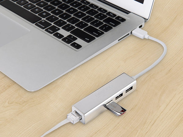 USB-C/USB 3.0 to 3 Ports USB 3.0 Hub With RJ45 Gigabit Ethernet Adapter