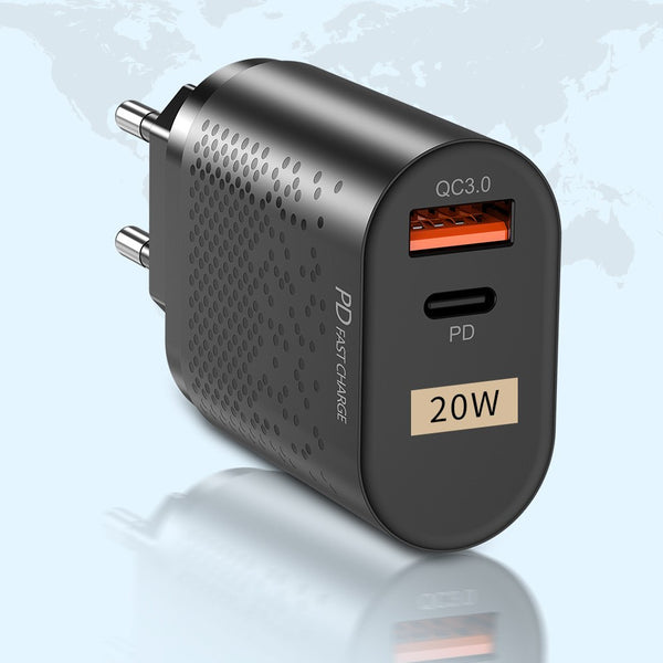 20W QC3.0 PD Fast Charging Wall Charger, with USB-A & Type-C Ports, for Phone, Tablet & More (2-Pack)