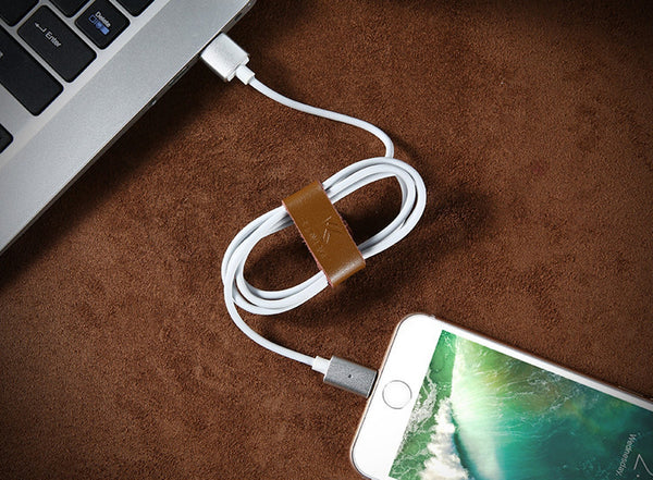 Secure and Organize Cables with Genuine Leather Cable Organizer