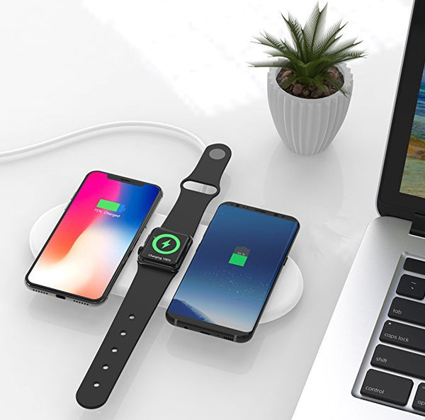 Faster-than-ever 3-in-1 Wireless Charging Station for Apple Watch & Qi-enabled Phones
