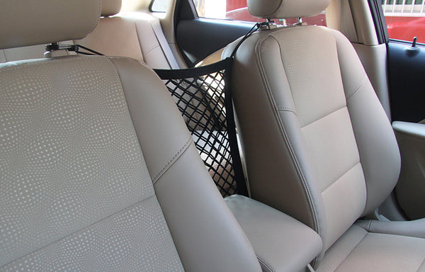 Universal Car Seat Storage Mesh Organizer, for Water Bottles, Napkins, Baubles or Pets / Kids Barrier