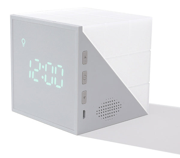Cube Alarm Clock, with Colorful Lights, Voice-control Night Light, Timer, Temperature Display and Long Battery Life, for Home & Office