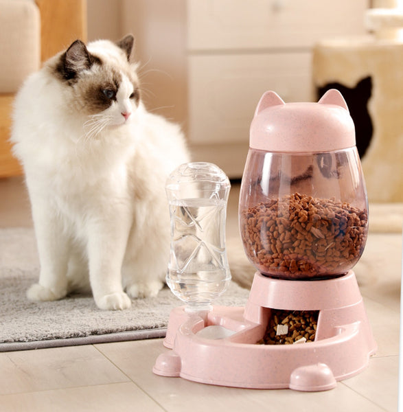 2-in-1 Automatic Pet Feeder, with Automatic Refill, Large Capacity, Detachable Design and Dust-proof Drinking Spout, For Cats and Dogs