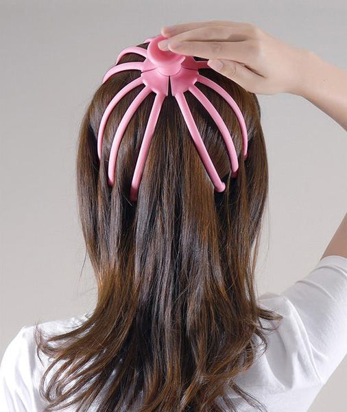 Waterproof Octopus-shaped Manual Head Massager With 12 Claws, For Hair & Body