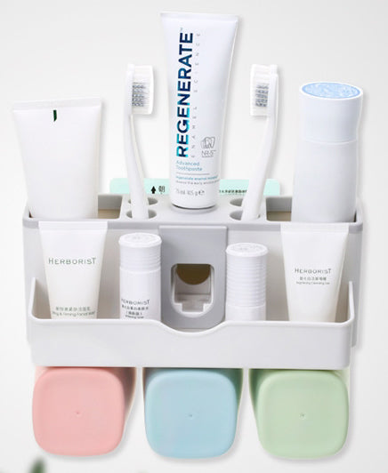 Your Morning Starts Here : Washroom Organizer With Automatic Toothpaste Dispenser