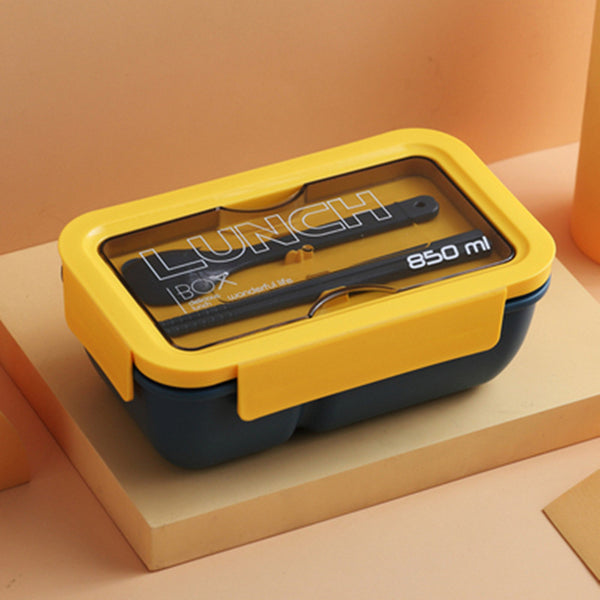 Bento Box with 2 Compartments, Chopsticks, Spoon, Phone Holder, Silicone Seal & Microwave Safe, for Office, Camping & More