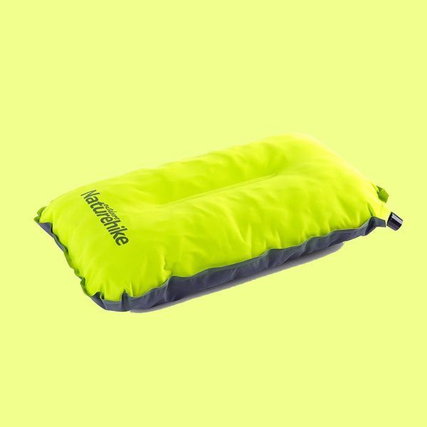 Portable Self-inflating Pillow, with Breathable Fabric, Sponge Filling & Adjustable Height, for Camping, Office & More