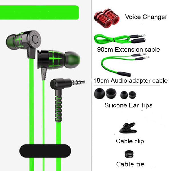 In-Ear Wired Earphones with Microphone, Extended 3.5mm Y-Splitter, 2 Voice Changers and Extension Cable for PC, Laptops, Gaming and Online Meetings