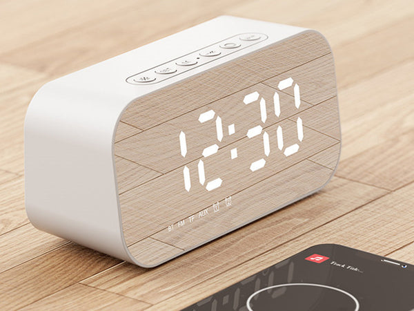 3-in-1 Wireless Bluetooth Speaker with Subwoofer, Alarm, Mirror Clock & Thermometer, for Home & Office