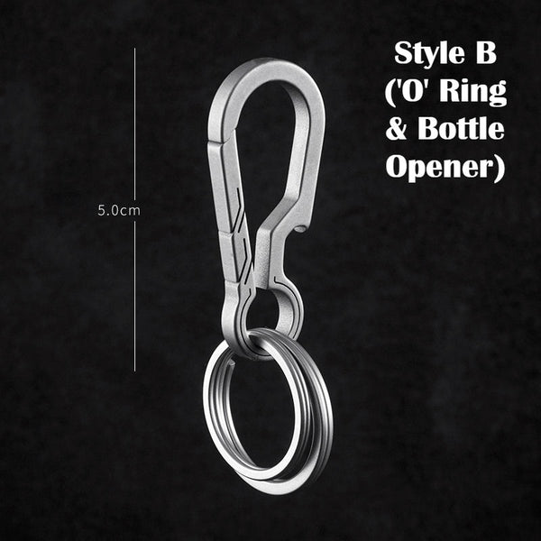 Titanium Alloy Keychain with Soft Rubber Washer, Bottle Opener Design, Key Rings of Different Shapes, Lightweight, High Strength & High Hardness
