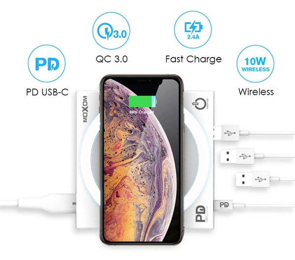 5-in-1 Wireless & Wired PD & QC3.0 Fast Charging Station with Light