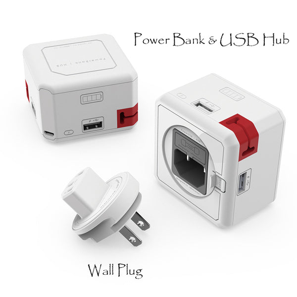 4-port 4-in-1 Power Bank, USB Hub, Cable Organizer & Wall Adapter