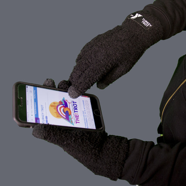 Fuzzy Texting Gloves with Woven Patch