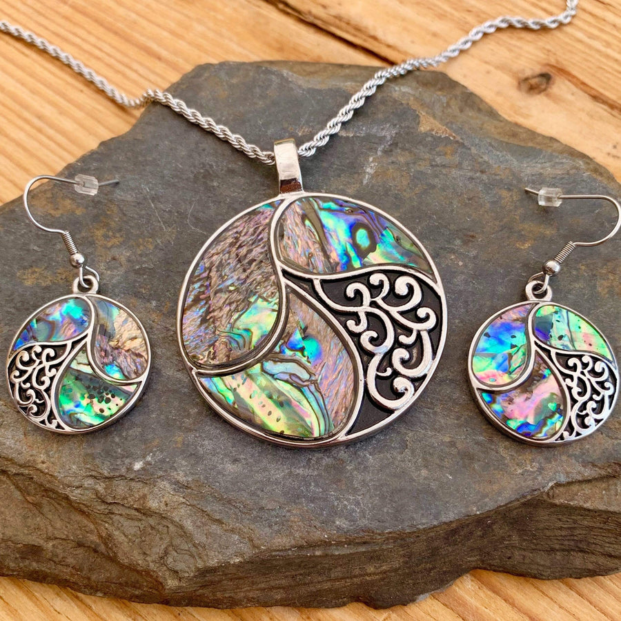 Abalone - Circle of Life Pendant & Chain SK2555 Biker Jewelry Skull Jewelry Sanity Jewelry Stainless Steel jewelry