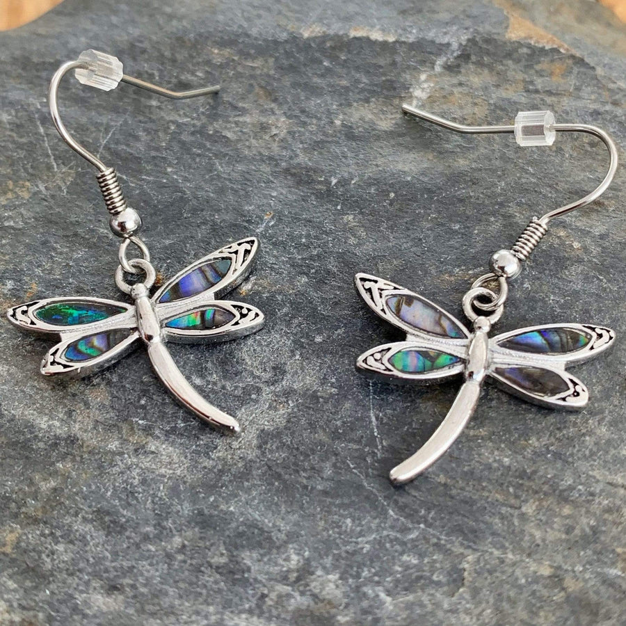 Abalone - Dragonfly Earrings SK2540E Earrings Biker Jewelry Skull Jewelry Sanity Jewelry Stainless Steel jewelry