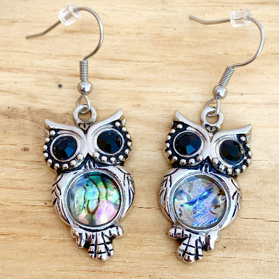 Abalone - Owl Earrings SK2575E Earrings Biker Jewelry Skull Jewelry Sanity Jewelry Stainless Steel jewelry