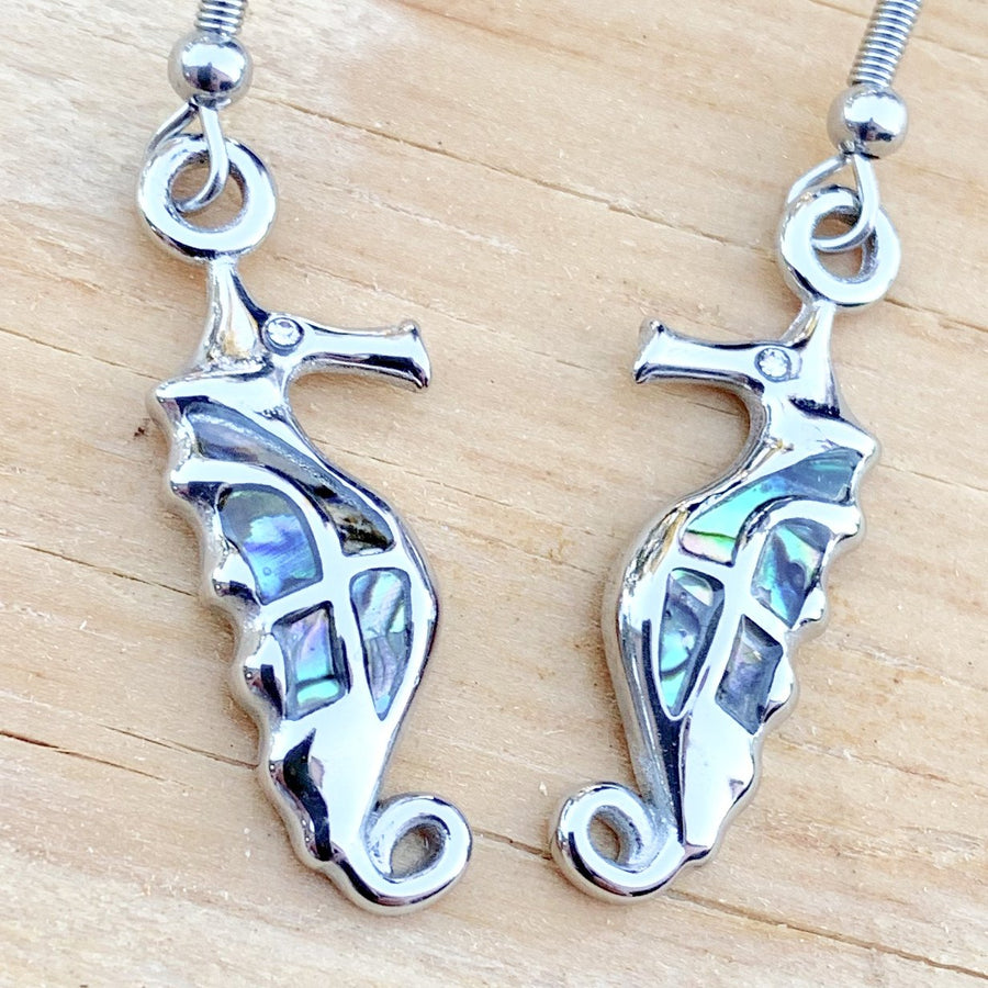 Abalone - Seahorse Earrings SK2568E Earrings Biker Jewelry Skull Jewelry Sanity Jewelry Stainless Steel jewelry