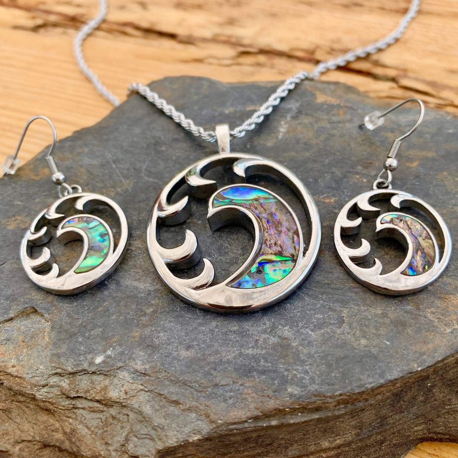 Abalone - Wave Earrings SK2562E Earrings Biker Jewelry Skull Jewelry Sanity Jewelry Stainless Steel jewelry