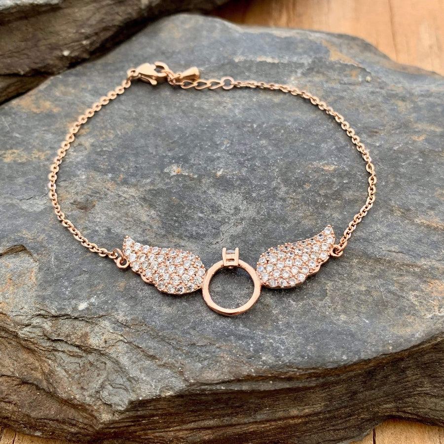 Ladies Bracelet - Petite Angel Wings - The Rose Gold Wings LAN032B Pendant Biker Jewelry Skull Jewelry Sanity Jewelry Stainless Steel jewelry