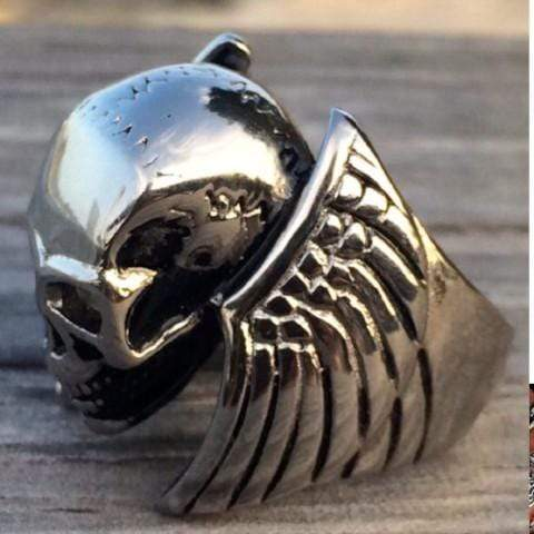 Angel Wings & Skull Ring - Sizes 6-16 - R02 Ring Biker Jewelry Skull Jewelry Sanity Jewelry Stainless Steel jewelry