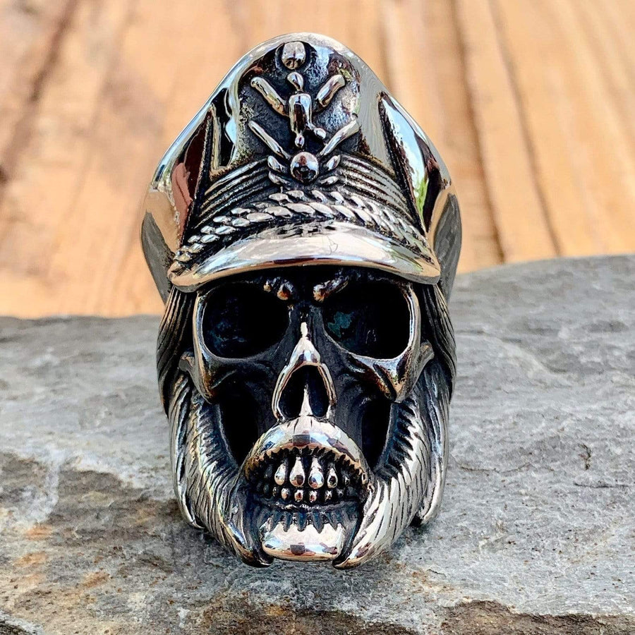 Bone Crusher Collection - Admiral Skull - Sizes 8-16 - R09 Ring Biker Jewelry Skull Jewelry Sanity Jewelry Stainless Steel jewelry