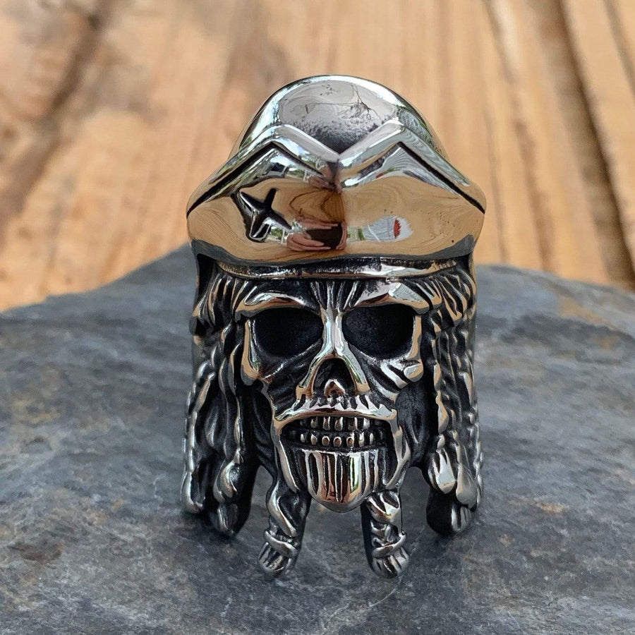 Bone Crusher Collection - Pirate - Sizes 9-16 - R16 Ring Biker Jewelry Skull Jewelry Sanity Jewelry Stainless Steel jewelry