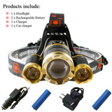 Front Head Lamp 18650 With Rechargeable Battery