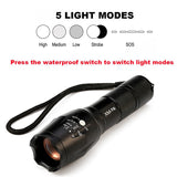 LED Tactical Flashlight 8000 Lumens CREE XM-L2