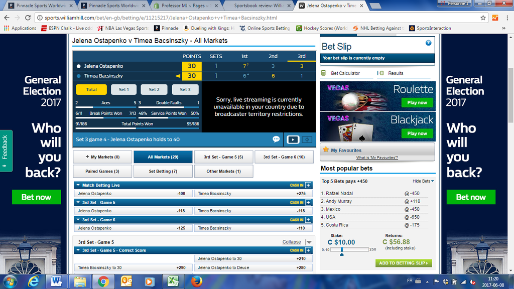 William Hill sportsbook (bookmaker, bookie) interface tennis live betting