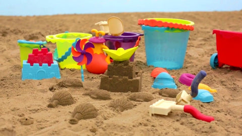 beach toys, sandcastle