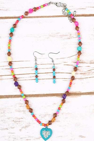 Boho Heart Necklace & Earring Set in Muliticolor