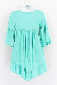 Mint High Low Ruffle Tunic Dress - Tomato Superstar
