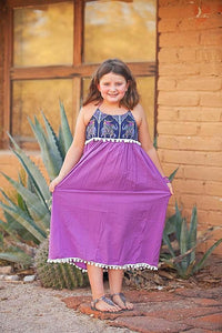 Purple Elephant Pom Pom Maxi Dress - Tomato Superstar