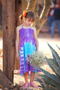 Purple & Blue Tie Dye Halter Dress - Tomato Superstar
